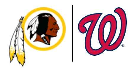 Logos for the Redskins and the Nationals