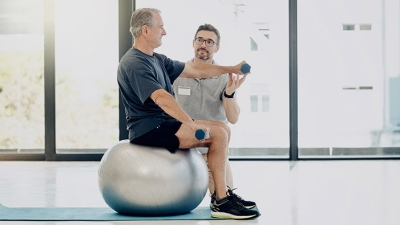 mature man rehab in gym