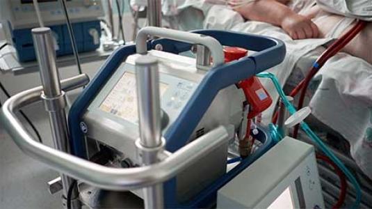 ECMO machine attached to patient