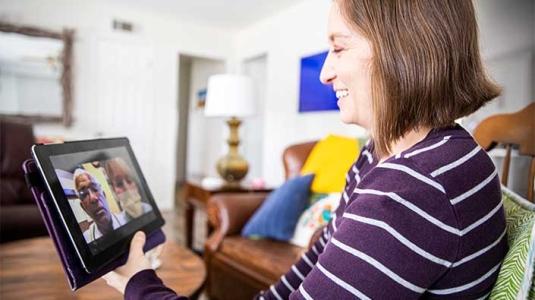Female having virtual conversation
