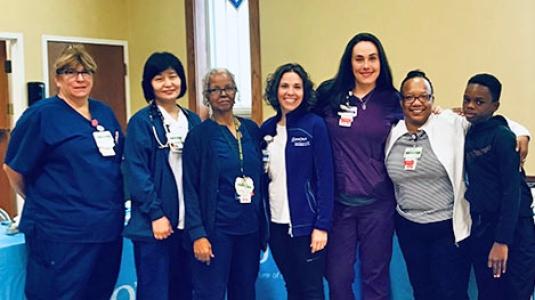 group of nurses at health fair