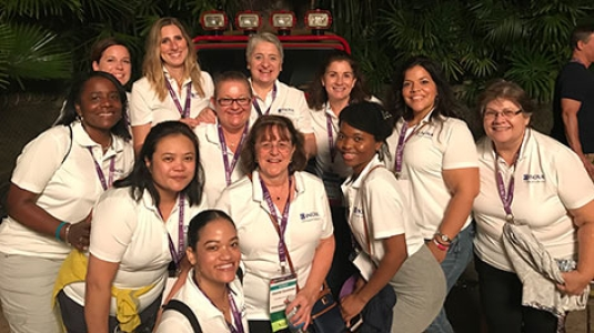 nurses smiling at conference event